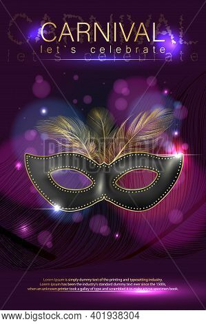 Carnival Poster With Realistic Mask. A Luxurious Mask With Feathers. Banner For The Carnival. Venice