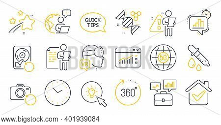 Set Of Science Icons, Such As Statistics Timer, Business Portfolio, Recovery Hdd Symbols. Energy, Ch