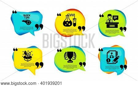 Creativity, Winner And Tutorials Icons Simple Set. Speech Bubble With Quotes. Chemistry Lab, Exhibit