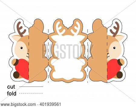 Cute Deer Hold Heart. Fold Long Greeting Card Template. Great For St. Valentine Day, Birthdays, Baby
