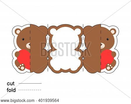 Cute Bear Hold Heart. Fold Long Greeting Card Template. Great For St. Valentine Day, Birthdays, Baby