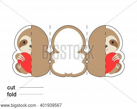 Cute Sloth Hold Heart. Fold Long Greeting Card Template. Great For St. Valentine Day, Birthdays, Bab
