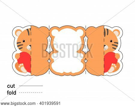 Cute Tiger Hold Heart. Fold Long Greeting Card Template. Great For St. Valentine Day, Birthdays, Bab