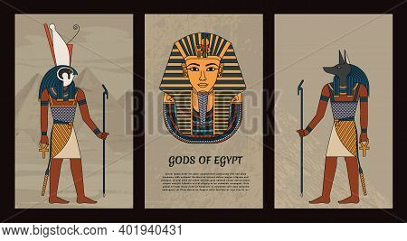 Vector Illustration Symbols Of Ancient Egypt Egyptian Gods Anubis And Horus, And Mask Of Pharaoh Tut