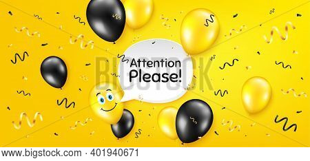 Attention Please. Balloon Confetti Vector Background. Special Offer Sign. Important Information Symb