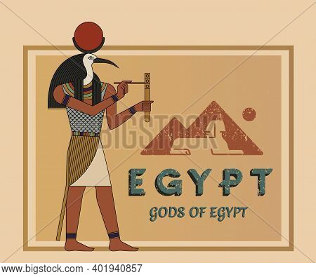 The Ancient Egyptian God Ra Painted Against The Background Of The Map Of Egypt With Pyramids. A Vect