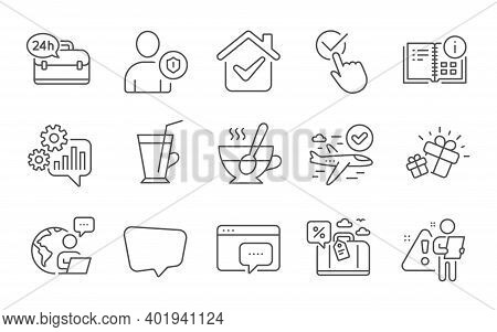 Tea Cup, Checkbox And Chat Message Line Icons Set. Cogwheel, Confirmed Flight And Gift Signs. Coffee