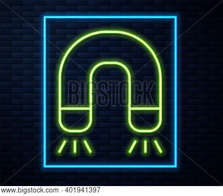 Glowing Neon Line Magnet Icon Isolated On Brick Wall Background. Horseshoe Magnet, Magnetism, Magnet