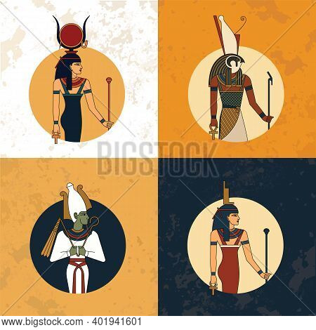 Illustration Of The Gods And Symbols Of Ancient Egypt Isolated Against The Vintage Background. Egypt