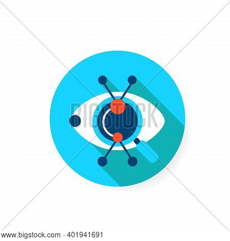 Creative Research Flat Icon. Artistic Vision And Technical Solution Approach Concept. Sign Of Eye Wi