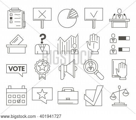 Politics Related Set Of Vector Icons. Collection Of Symbols For Voting, Presidential Election And De