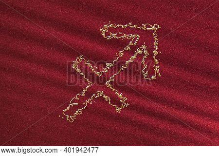 Sagittarius Zodiac Sign, Horoscope Astrology Background, Sagittarius Horoscope Symbol, Red Backgroun