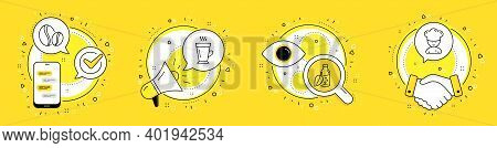 Water Bottle, Coffee Beans And Latte Line Icons Set. Cell Phone, Megaphone And Deal Vector Icons. Co