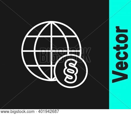 White Line International Law Icon Isolated On Black Background. Global Law Logo. Legal Justice Verdi
