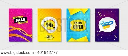 Sale Banner, Approved Bubble And Last Minute Offer Set. Sticker Template Layout. Special Offer Stick