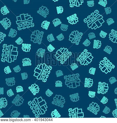 Green Line Cargo Train Wagon Icon Isolated Seamless Pattern On Blue Background. Full Freight Car. Ra