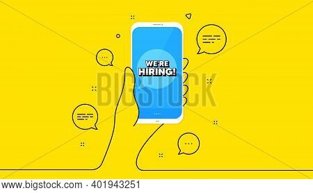 Were Hiring Symbol. Hand Hold Phone. Yellow Banner With Continuous Line. Recruitment Agency Sign. Hi