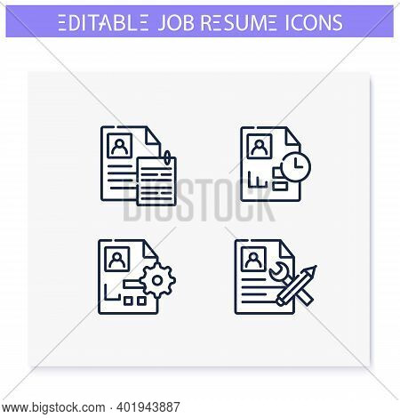 Job Resume Line Icons Set. Proofreading, Optimization, Collecting And More. Career Biography. Job Se