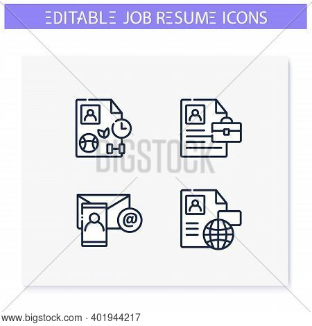 Job Resume Line Icons Set. Cv Letter Document. Contact Data, Portfolio, Hobby And More. Career Biogr
