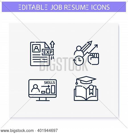 Job Resume Line Icons Set. Cv Letter Document. Education, Skills, Experience And More. Career Biogra