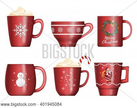 Collection Of Christmas Red Cups Isolated On White Background. Christmas Mugs Of Hot Chocolate With