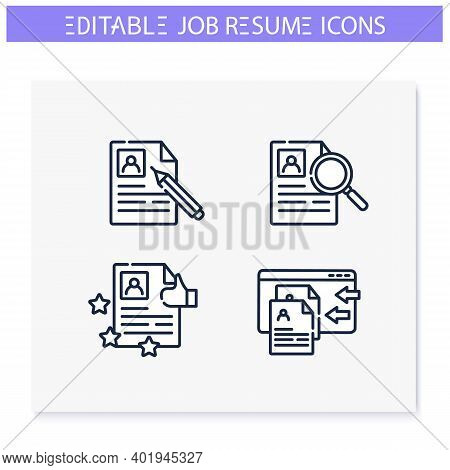 Job Resume Line Icons Set. Cv Letter, Hr Document. Search, Rating, Writing And More. Career Biograph
