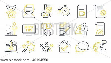 Set Of Education Icons, Such As Mail Correspondence, Technical Documentation, Video File Symbols. Ch