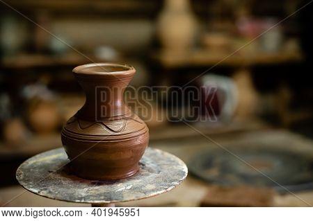 Handmade Pottery Jug. Raw Handicraft Clay Brown Tableware, Raw Brown Earthenware Jug Before Firing I
