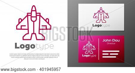 Logotype Line Jet Fighter Icon Isolated On White Background. Military Aircraft. Logo Design Template
