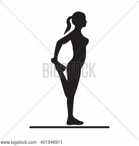 Silhouette Of Fit Woman Doing Foot Stretching Isolated On White Background. Determined Latin Woman W