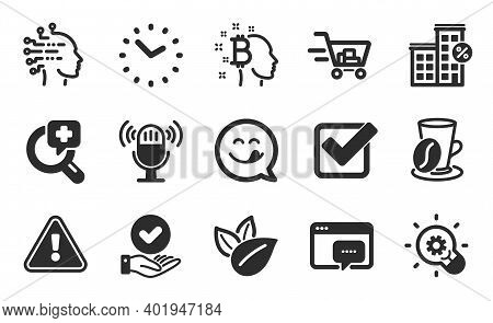 Bitcoin Think, Organic Product And Artificial Intelligence Icons Simple Set. Time, Innovation And Lo