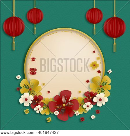 Chinese New Year Traditional Green Greeting Card Illustration With Traditional Asian Decoration Hang