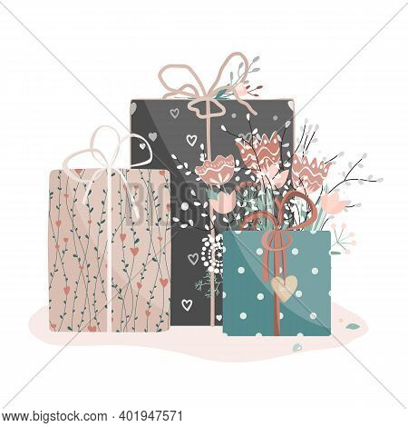 Valentine Day Gift Boxes Set With Flowers. Wrapped Packages Decorated With Ribbon Bows, Plants And W