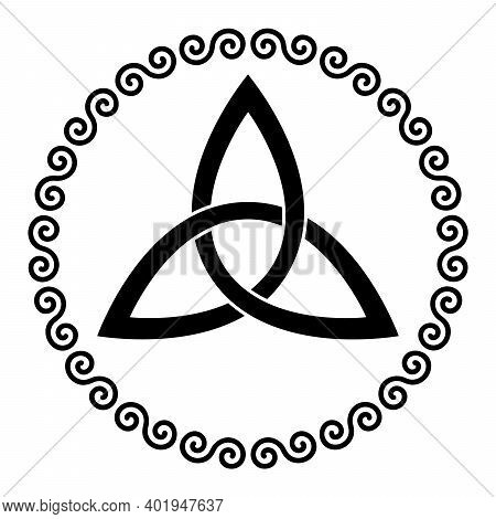 Celtic Triangle Knot In A Circle Frame Shaped By Double Spirals. Basket Wave Knot, Used In Ancient C