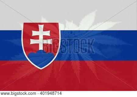 Leaf Of Cannabis Marijuana On The Flag Of Slovakia. Medical Cannabis In The Slovakia. Cannabis Legal