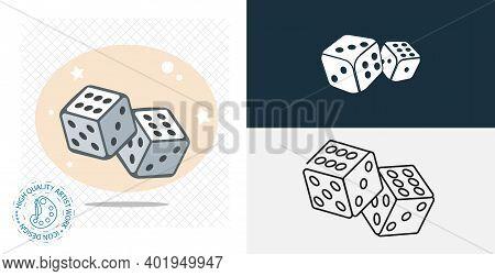 Dice Cubes Isolated Vector Icon. Casino Design Element