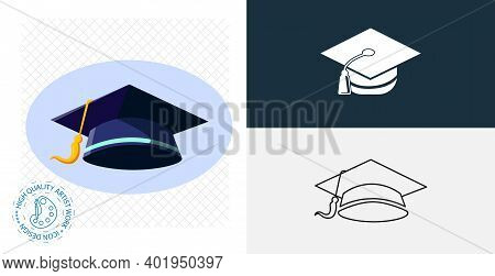 Graduation Cap Isolated Vector Icon. Line, Solid Design Element