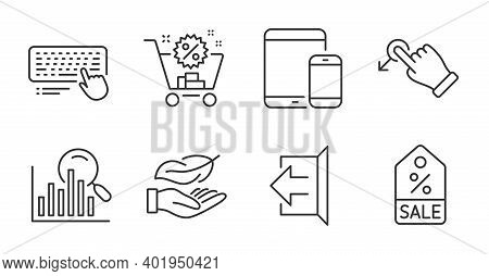 Shopping Cart, Mobile Devices And Search Line Icons Set. Drag Drop, Computer Keyboard And Sale Coupo