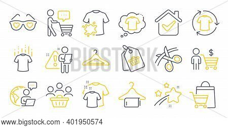 Set Of Fashion Icons, Such As Dirty T-shirt, Dry T-shirt, Change Clothes Symbols. Buyer Think, Cloak