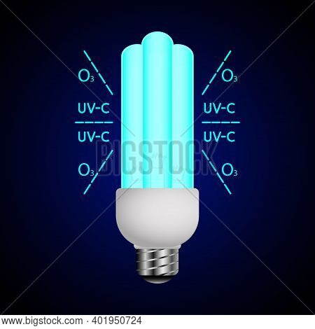 Blue Luminous Lamp With Ultraviolet Rays. Ultraviolet Light Sterilization Of Air And Surfaces. Bacte