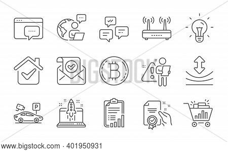 Start Business, Certificate And Wifi Line Icons Set. Idea, Chat Messages And Seo Shopping Signs. Con