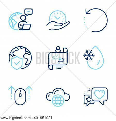 Technology Icons Set. Included Icon As Journey Path, World Insurance, Heart Signs. Cloud Computing,