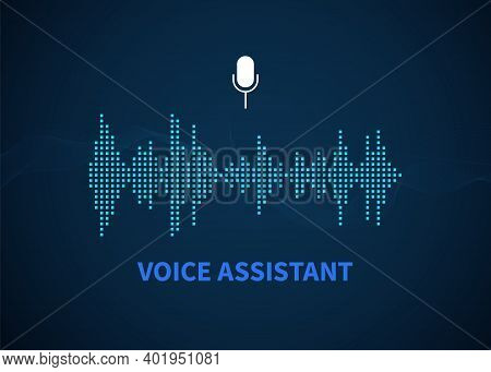Voice Assistant. Color Sound Recognition Wave, And Microphone Icon Button, Voice Or Sound Recorder,