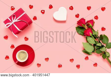 Red Roses Bouquet, Gift Box, Coffee Cup And Hearts On Pink Background. Mother's, Women's Or Valentin