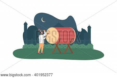 Ramadan Kareem Celebration 2d Vector Web Banner, Poster. Oriental Mosque. Ramazan Drummer Flat Chara