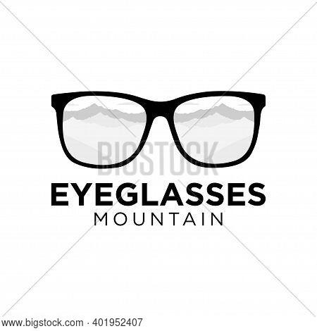 Eyeglasses And Mountains Icon Vector Logo Design