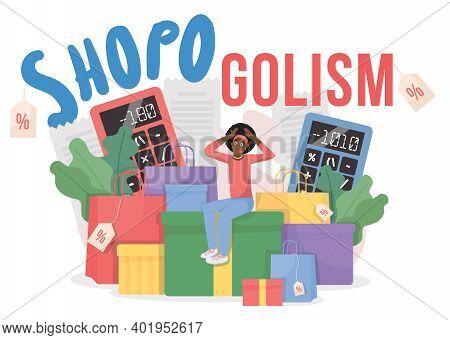 Shopogolism Flat Concept Vector Illustration. Black Friday Sale. Addiction To Shopping. Shopogolic 2