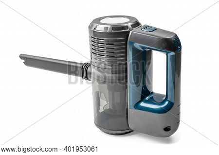 Small Portable White And Red Vacuum Cleaner Isolated On White Background. Modern Hand-held White Vac