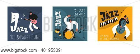Music Set Of A Jazz Orchestra. Musicians Play Jazz Instruments. Stylish Jazz Lettering. Vector Music