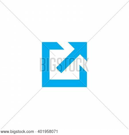 External Link Icon With Arrow And Box, Open In New Window Flat Icon. Stock Vector Illustration Isola